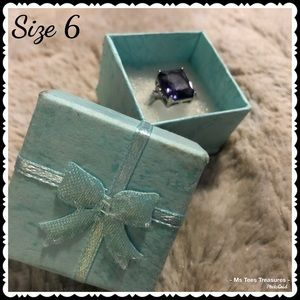 925 Sterling Silver Genuine Amethyst Ring Size 6